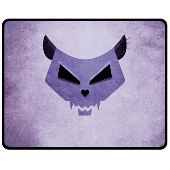 Purple Evil Cat Skull Double Sided Fleece Blanket (Medium)