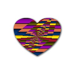 Autumn Check Rubber Coaster (heart)