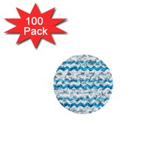 Baby Blue Chevron Grunge 1  Mini Buttons (100 Pack)