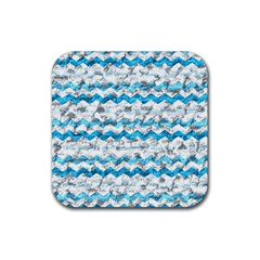 Baby Blue Chevron Grunge Rubber Square Coaster (4 Pack)
