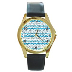 Baby Blue Chevron Grunge Round Gold Metal Watch