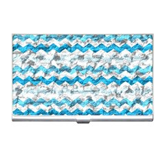 Baby Blue Chevron Grunge Business Card Holders