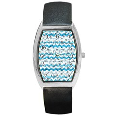 Baby Blue Chevron Grunge Barrel Style Metal Watch