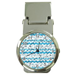Baby Blue Chevron Grunge Money Clip Watches