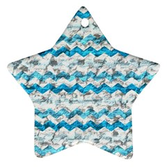 Baby Blue Chevron Grunge Star Ornament (two Sides)