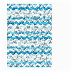 Baby Blue Chevron Grunge Large Garden Flag (two Sides)