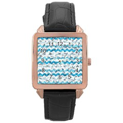 Baby Blue Chevron Grunge Rose Gold Leather Watch