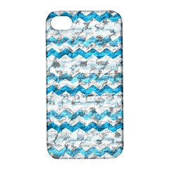 Baby Blue Chevron Grunge Apple Iphone 4/4s Hardshell Case With Stand