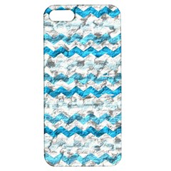 Baby Blue Chevron Grunge Apple Iphone 5 Hardshell Case With Stand