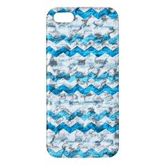 Baby Blue Chevron Grunge Apple Iphone 5 Premium Hardshell Case