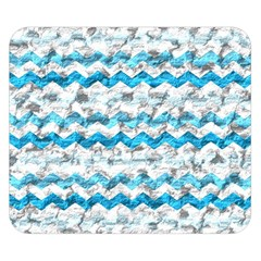 Baby Blue Chevron Grunge Double Sided Flano Blanket (small)
