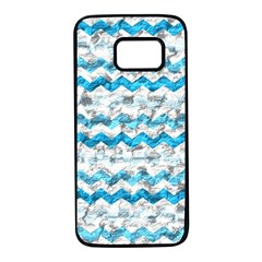 Baby Blue Chevron Grunge Samsung Galaxy S7 Black Seamless Case