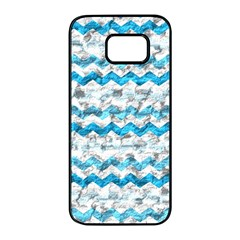 Baby Blue Chevron Grunge Samsung Galaxy S7 Edge Black Seamless Case