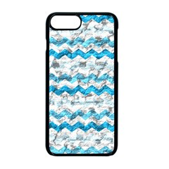 Baby Blue Chevron Grunge Apple Iphone 7 Plus Seamless Case (black)