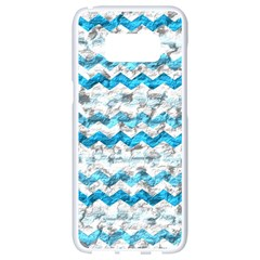 Baby Blue Chevron Grunge Samsung Galaxy S8 White Seamless Case
