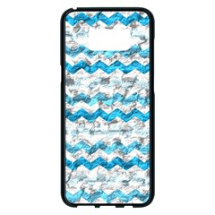 Baby Blue Chevron Grunge Samsung Galaxy S8 Plus Black Seamless Case