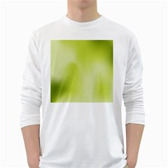 Green Soft Springtime Gradient White Long Sleeve T Shirts