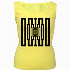 Black Stripes Endless Window Women s Yellow Tank Top