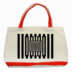 Black Stripes Endless Window Classic Tote Bag (red)