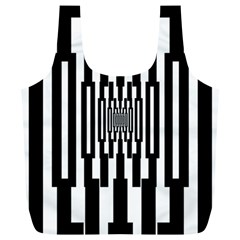 Black Stripes Endless Window Full Print Recycle Bags (l)