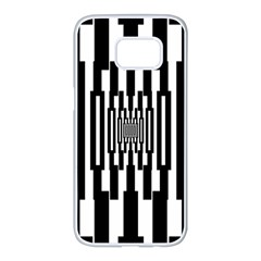 Black Stripes Endless Window Samsung Galaxy S7 Edge White Seamless Case