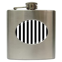 Black And White Stripes Hip Flask (6 Oz)