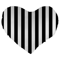 Black And White Stripes Large 19  Premium Flano Heart Shape Cushions