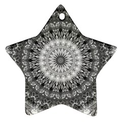 Feeling Softly Black White Mandala Ornament (star)