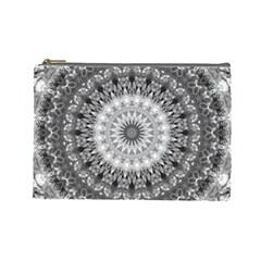 Feeling Softly Black White Mandala Cosmetic Bag (large)