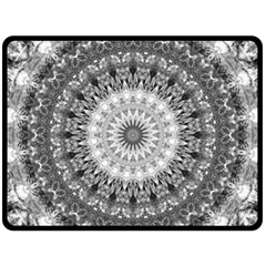 Feeling Softly Black White Mandala Fleece Blanket (large)