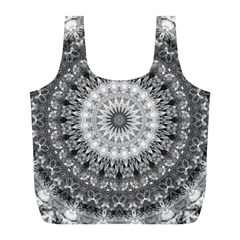 Feeling Softly Black White Mandala Full Print Recycle Bags (l)