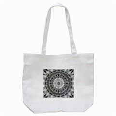 Feeling Softly Black White Mandala Tote Bag (white)