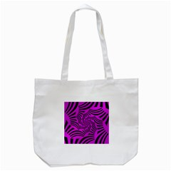 Black Spral Stripes Pink Tote Bag (white)