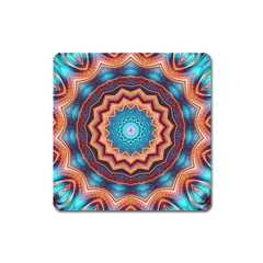 Blue Feather Mandala Square Magnet
