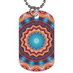 Blue Feather Mandala Dog Tag (two Sides)