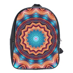 Blue Feather Mandala School Bag (large)