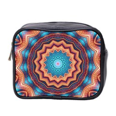 Blue Feather Mandala Mini Toiletries Bag 2 Side