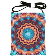 Blue Feather Mandala Shoulder Sling Bags