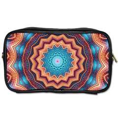 Blue Feather Mandala Toiletries Bags 2 Side