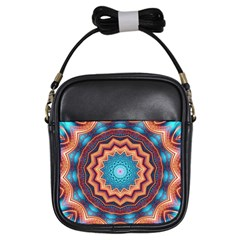 Blue Feather Mandala Girls Sling Bags