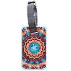 Blue Feather Mandala Luggage Tags (two Sides)