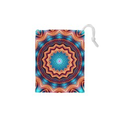 Blue Feather Mandala Drawstring Pouches (xs)