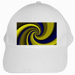 Blue Gold Dragon Spiral White Cap