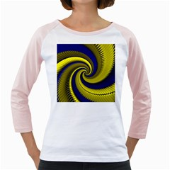 Blue Gold Dragon Spiral Girly Raglans