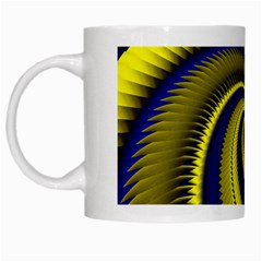 Blue Gold Dragon Spiral White Mugs