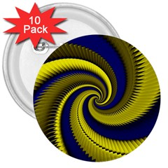 Blue Gold Dragon Spiral 3  Buttons (10 Pack)