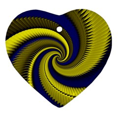 Blue Gold Dragon Spiral Heart Ornament (two Sides)