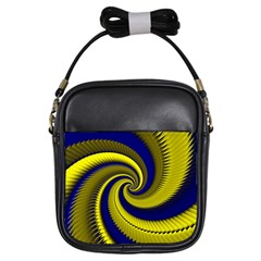 Blue Gold Dragon Spiral Girls Sling Bags