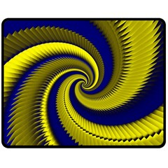 Blue Gold Dragon Spiral Fleece Blanket (medium)
