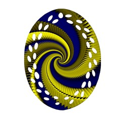 Blue Gold Dragon Spiral Ornament (oval Filigree)